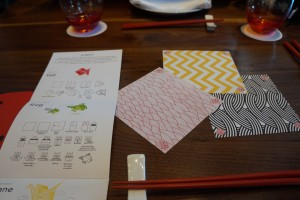 The children's menu includes origami paper and instructions to make three animals. (Photo by Julia Mascardo)