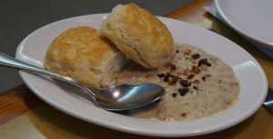 Even more food: biscuits and sausage gravy. Photo by Julia Mascardo