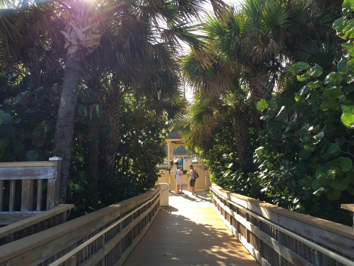 Walkway from the beach back to the resort