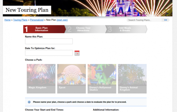 Personalized Plan Start Page