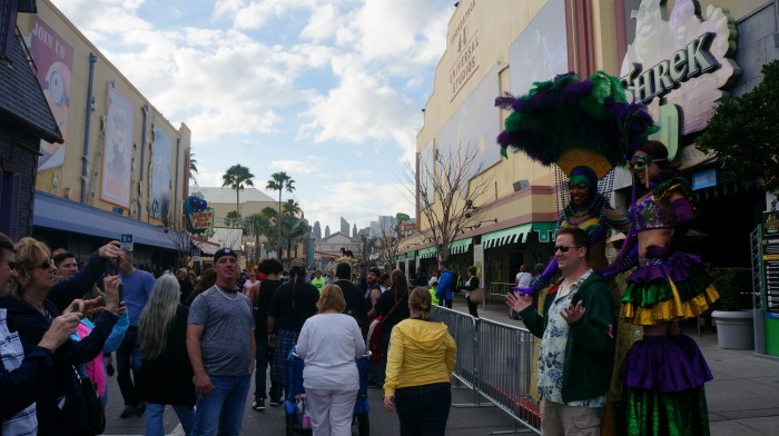 A taste of things to come, a popular and crowded Universal Mardi Gras
