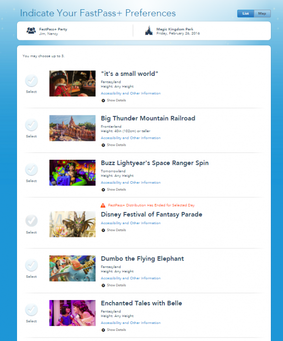 List of FastPass+ Attractions
