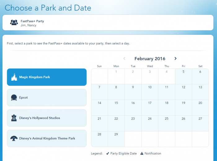 Start by choosing the Park and Date