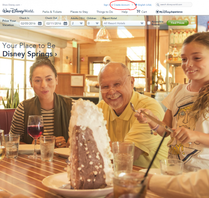 """Click """"Create Account"""" to get started. As an aside, the Baked Alaska at The Boathouse at Disney Springs is absurd."""