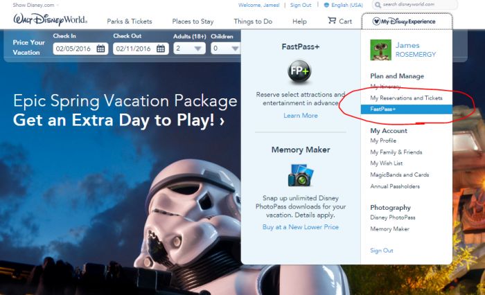 """Get started by clicking on """"FastPass+"""" under the drop down menu"""