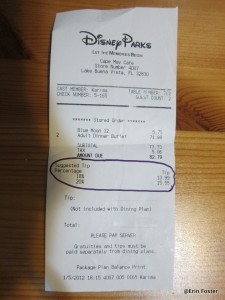 Most restaurant receipts calculate a typical tip amount for you.