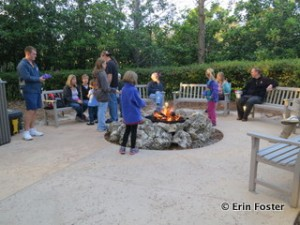 Roast a free marshmallow at a resort campfire.