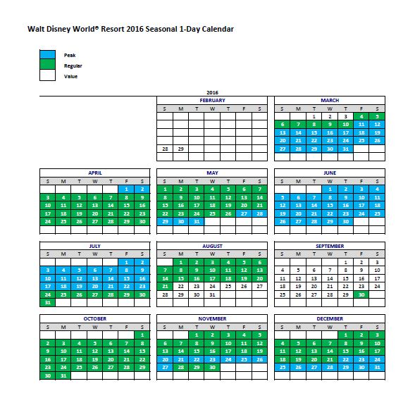 Walt Disney World Pricing calendar