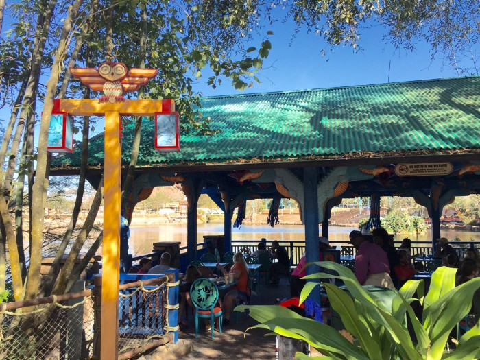 Flame Tree BBQ seating area facing the backside of Rivers of Light area