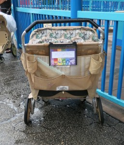 Back of a typical Disney World double rental stroller