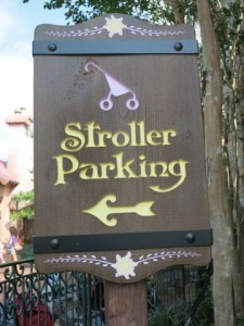 There are stroller parking lots throughout the WDW theme parks