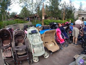Stroller parking lot in Fantasyland at the Magic Kingdom