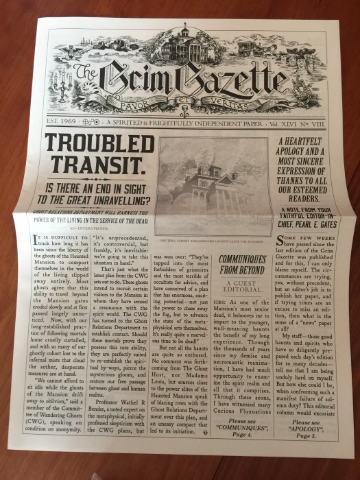 "A ""Grim Gazette"" newspaper."