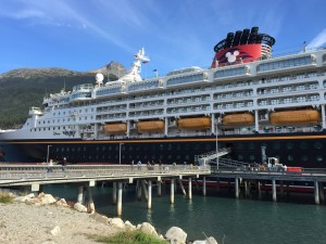 The DCL Wonder docked in Skagway on an Alaskan cruise.