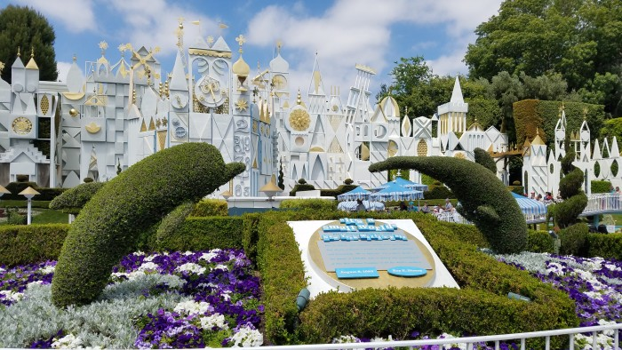 The classic façade of it's a small world at Disneyland