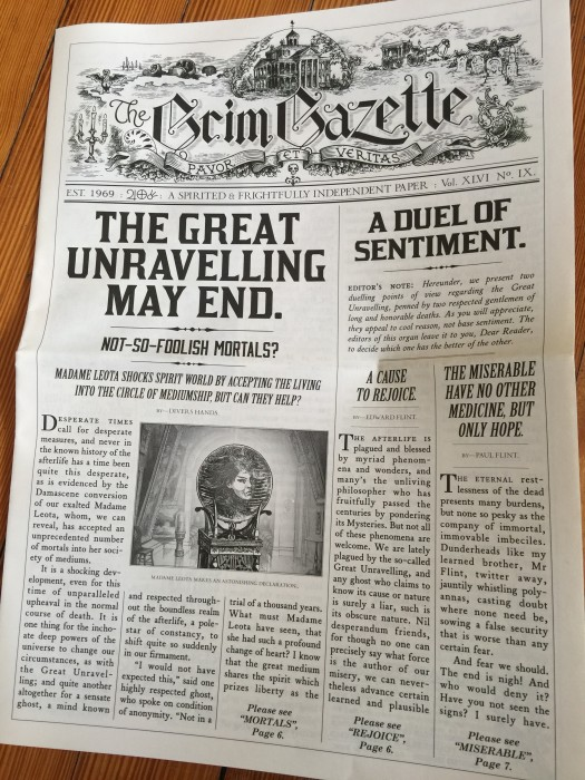 Another edition of the Grim Gazette.