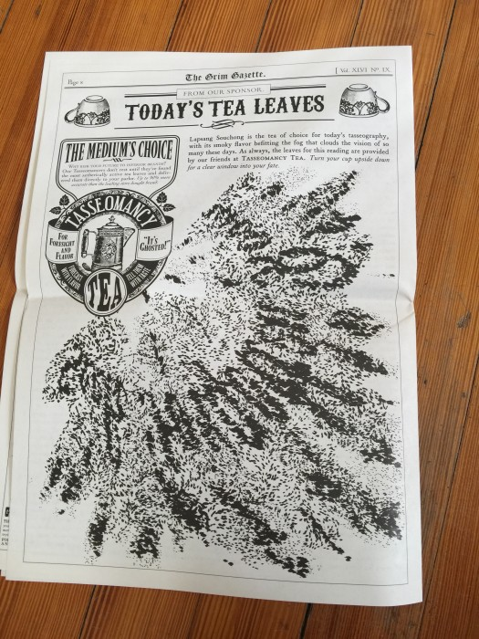 Advertisement for tea in issue #2 of the Grim Gazette.