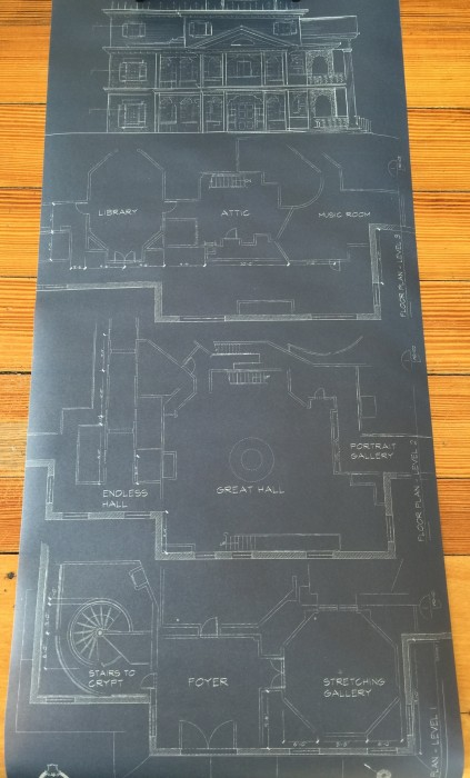 A blueprint-style drawing of the inside of the Haunted Mansion.
