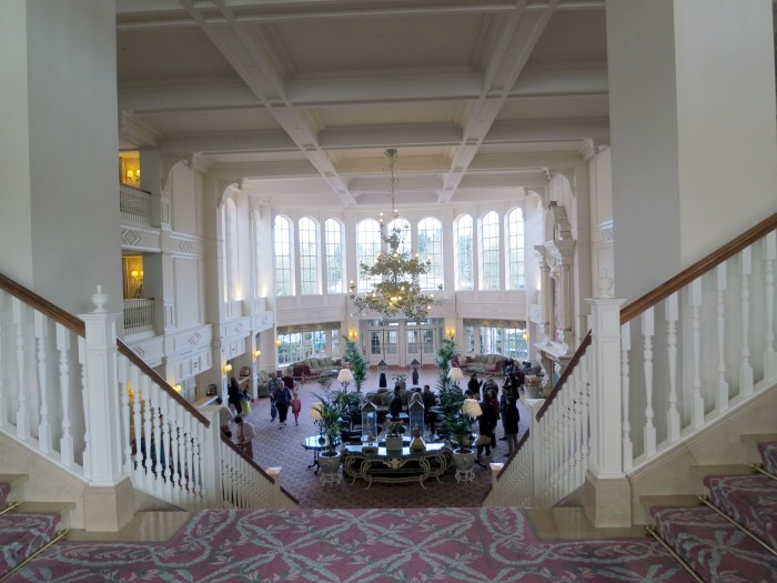 Looking into a busy lobby from the second floor.