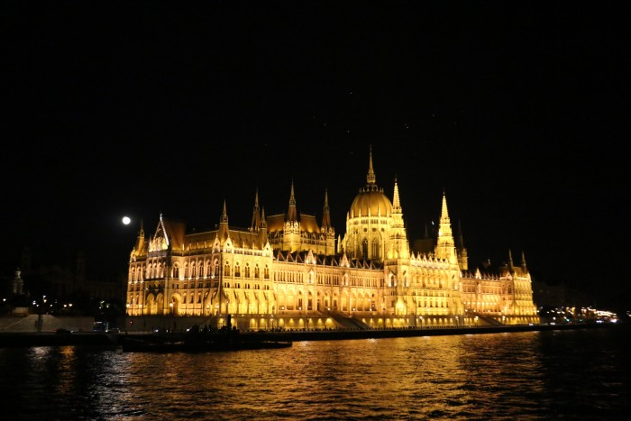 Viewing Budapest at night from the upper deck.