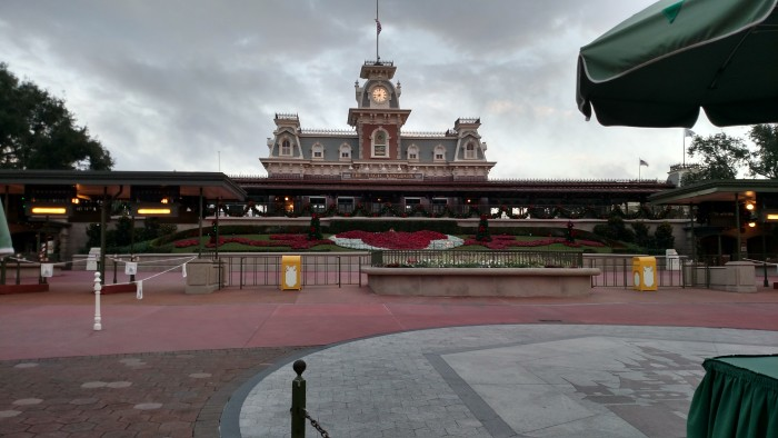 Arriving at a nearly empty Magic Kingdom entrance for an early breakfast