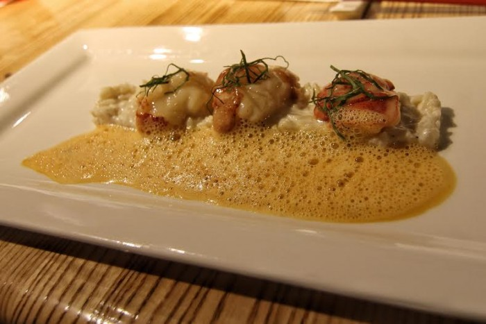Butter poached lobster with coconut Basmati risotto and Thai curry espuma