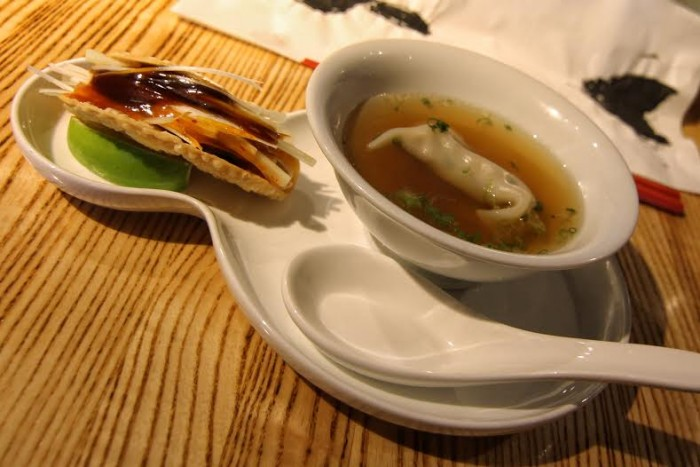 East Meets West dumpling soup and Peking duck taco