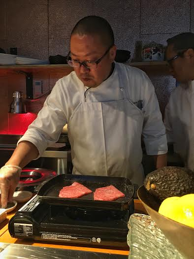 Tableside yakiniku preparation for the finest quality wagyu beef