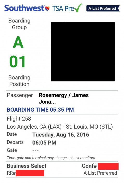 The letter and number on your boarding pass determines when you board. A1, baby!