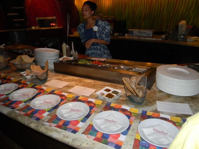 A sampling at Jiko - The Cooking Place set up for guests at the Animal Kingdom Lodge Culinary Tour.