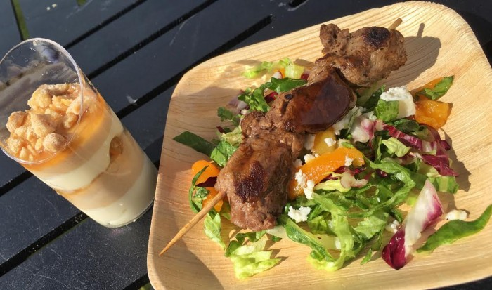 The Chew Collective's Peanut Butter and White Chocolate Mousse (L) and Grilled Beef Skewer (R)