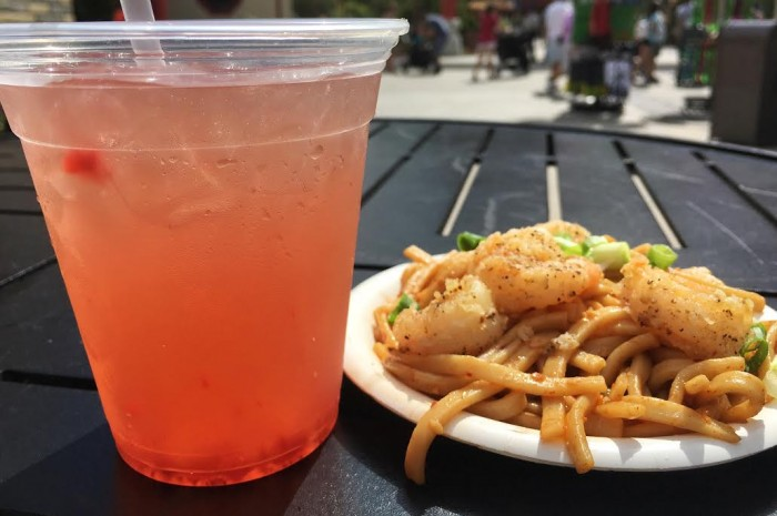 China's Strawberry Plum Wine Cooler (L) and Black Pepper Shrimp with Garlic Noodles (R)