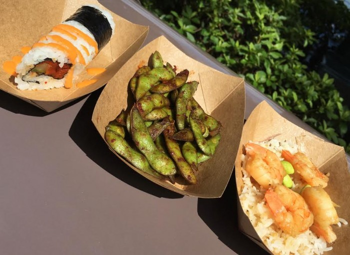 Japan's Spicy Sushi Roll (L), Spicy Grilled Edamame (M), and Garlic Shrimp (R)
