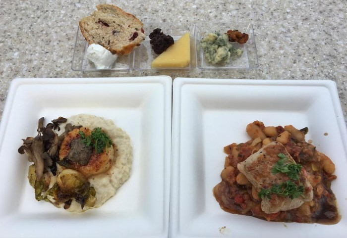 Wine & Dine Studio's Trio of Artisan Cheeses (Top), Seared Scallop with Celery Root Puree (L), and Pork Tenderloin with Cannellini Bean Ragout (R)