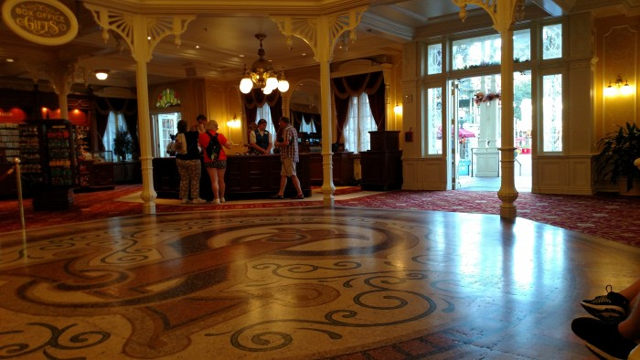 The check-in desk from inside Town Square Theater