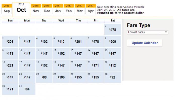 The Low Fare Calendar from Southwest.com shows the lowest fares on each day