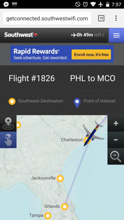 Southwests In-flight tracker