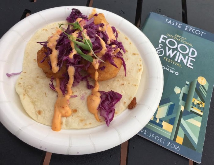 Mexico's Taco de Camarón: Battered Shrimp served over a Flour Tortilla with Crispy Purple Cabbage and Chipotle Mayonnaise