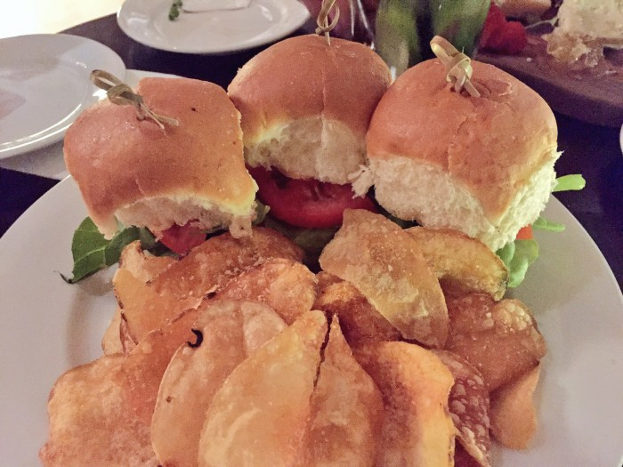 Lots of carbs on this plate of Bison sliders