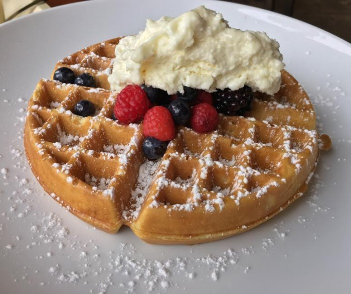 Safari Waffle with fresh berries and chai whipped cream
