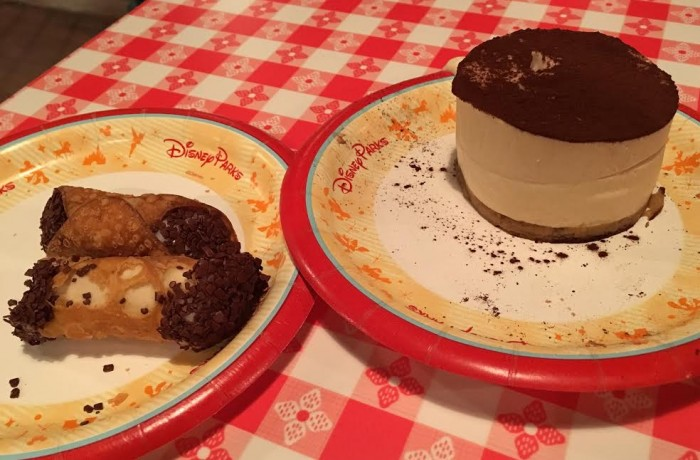 Cannoli and tiramisu desserts