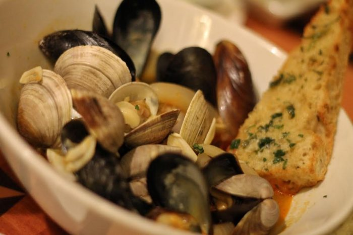 Beer-braised mussels and clams with chorizo