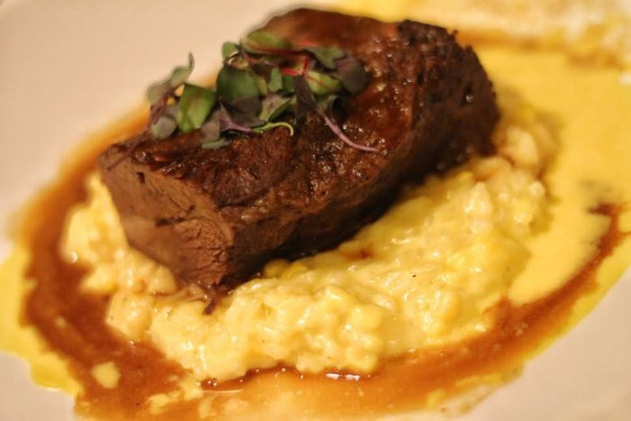 Cabernet-braised short rib with corn risotto