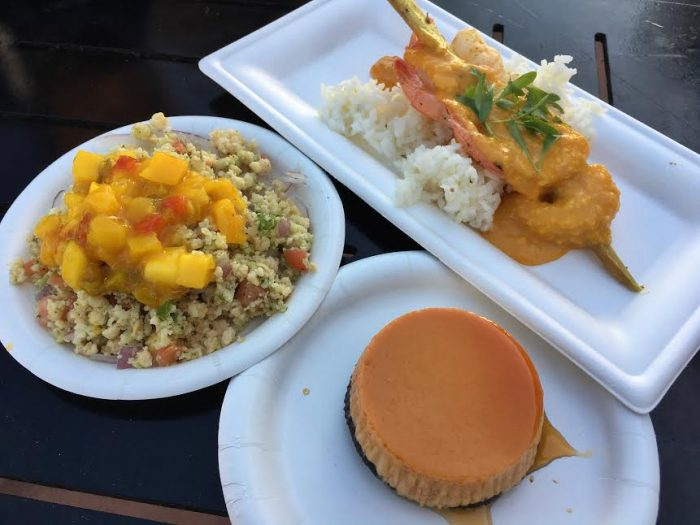 La Isla Fresca: Caribbean conch salad, Sugar cane shrimp skewer (pictured with last year's Flancocho dessert).