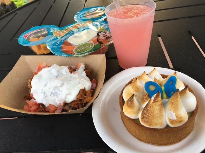 Florida Fresh's watermelon cucumber slush pictured with several new items (including the carne asada and key lime tart).
