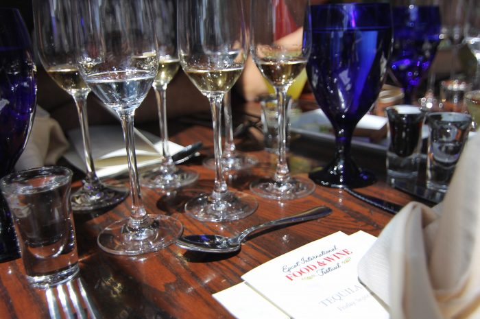 Each place-setting featured a variety of tequila samples for the tasting lunch