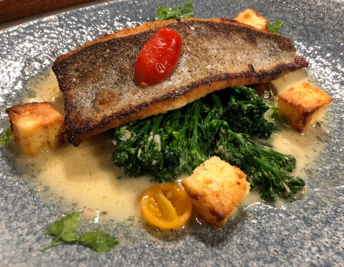Pan-seared trout entree
