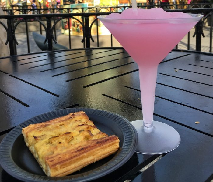 La Vie En Rose slushy and a view of previous year's onion tart from Fleur de Lys