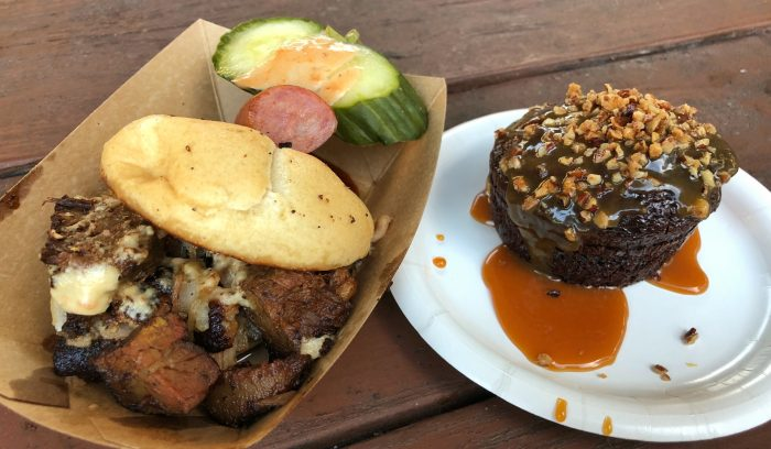 Smokehouse's burnt ends slider and warm chocolate cake with salted caramel bourbon sauce