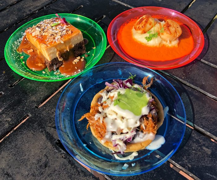 El Artista Hambriento's chocoflan, seared scallops, and sopes de chilorio (clockwise)